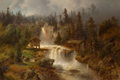 Fine Art - Painting, American:Antique  (Pre 1900), HERMANN OTTOMAR HERZOG (American, 1832-1932). Figures Before aMill in a Mountainous River Landscape (At the Mill Falls)...
