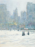 Fine Art - Painting, American, TOM PERKINSON (American, b. 1940). Central Park in the Snow,NYC . Oil on canvas. 40 x 30 inches (101.6 x 76.2 cm). Sign...
