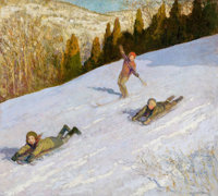 FRANCIS LUIS MORA (American, 1874-1940) The Winter Race Oil on canvas 36 x 40 inches (91.4 x 101
