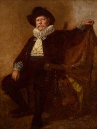 EASTMAN JOHNSON (American, 1824-1906) Self-Portrait in the Costume Worn by him at the Twelfth Night Celebration