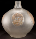 Art Glass:Lalique, R. LALIQUE CLEAR AND FROSTED GLASS QUATRE MASQUES VASE WITHSEPIA PATINA . Circa 1911. Engraved: R. Lalique, F...