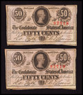 Confederate Notes:1863 Issues, T63 50 Cents 1863 Two Consecutive Examples.. ... (Total: 2 notes)