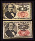 Fractional Currency:Fifth Issue, Fr. 1308 25¢ Fifth Issue Extremely Fine. Fr. 1309 25¢ Fifth IssueExtremely Fine.. ... (Total: 2 notes)