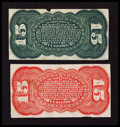 Fractional Currency:Third Issue, Fr. 1272SP 15¢ Third Issue Narrow Margin Green Back Very Fine. Fr. 1276SP 15¢ Third Issue Narrow Margin Red Back Very Fine... (Total: 2 notes)