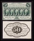 Fractional Currency:First Issue, Fr. 1313SP 50¢ First Issue Narrow Margin Pair Choice About New.. ... (Total: 2 notes)