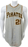 """Baseball Collectibles:Uniforms, 1965 Pittsburgh Pirates Number """"21"""" Game Worn Jersey...."""