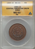 Central American Union, Central American Union: Confederation bronze 2 Centavos Essai 1889MS63 Red and Brown ANACS,...