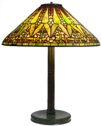 TIFFANY STUDIOS ARROWROOT TABLE LAMP Bronze lamp base with green, yellow and blue