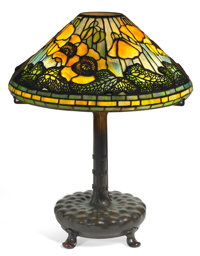 TIFFANY STUDIOS POPPY TABLE LAMP Bronze lamp base with yellow and green leaded gl