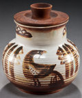 American Indian Art:Pottery, A HOPI PAINTED CERAMIC JAR WITH WOODEN LID. Charles Loloma. 1949...