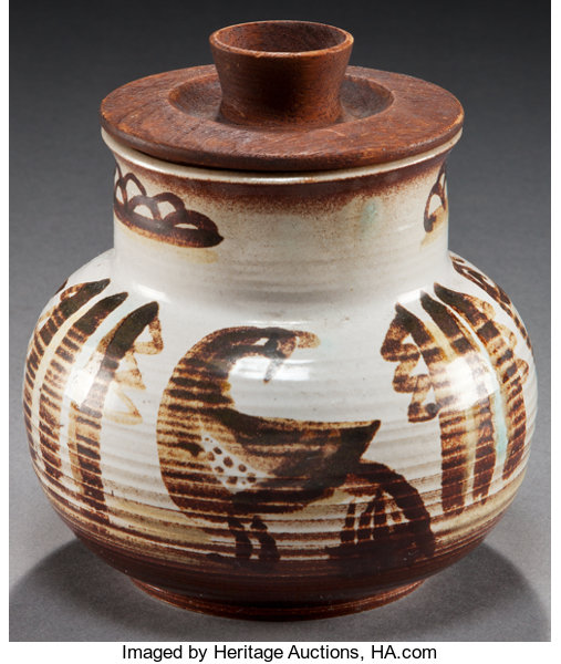 A HOPI PAINTED CERAMIC JAR WITH WOODEN LID  Charles Loloma