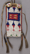 American Indian Art:Beadwork and Quillwork, A SIOUX BEADED HIDE CASE WITH FLINT STEEL . c. 1890. ... (Total: 2Items)