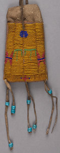 American Indian Art:Beadwork and Quillwork, A SIOUX BEADED HIDE POUCH. c. 1890 ...