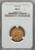 Indian Half Eagles: , 1910 $5 MS62 NGC. NGC Census: (1954/1213). PCGS Population(1472/781). Mintage: 604,250. Numismedia Wsl. Price for problem ...