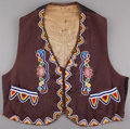 American Indian Art:Beadwork and Quillwork, A PRAIRIE BEADED CLOTH VEST. c. 1910 ...