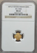 California Fractional Gold: , 1875/3 50C Indian Round 50 Cents, BG-1058, R.3, MS63 NGC. NGCCensus: (3/0). PCGS Population (44/14). (#10887)...