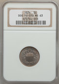 Shield Nickels, 1874 5C DDO MS63 NGC. FS-010. NGC Census: (28/75). PCGS Population(53/97). Mintage: 3,538,000. Numismedia Wsl. Price for p...