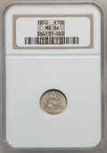 Seated Half Dimes: , 1856 H10C MS64 NGC. NGC Census: (97/107). PCGS Population (83/27).Mintage: 4,880,000. Numismedia Wsl. Price for problem fr...