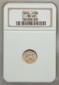 Seated Half Dimes: , 1852 H10C MS63 NGC. NGC Census: (30/82). PCGS Population (22/75).Mintage: 1,000,500. Numismedia Wsl. Price for problem fre...
