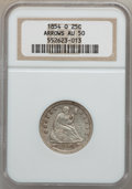 Seated Quarters: , 1854-O 25C Arrows AU50 NGC. NGC Census: (5/56). PCGS Population(3/47). Mintage: 1,484,000. Numismedia Wsl. Price for probl...