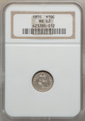 Seated Half Dimes: , 1850 H10C MS62 NGC. NGC Census: (17/152). PCGS Population (23/102).Mintage: 955,000. Numismedia Wsl. Price for problem fre...