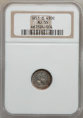 Seated Half Dimes: , 1851-O H10C AU55 NGC. NGC Census: (10/75). PCGS Population (11/49).Mintage: 860,000. Numismedia Wsl. Price for problem fre...