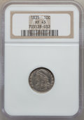 Bust Dimes: , 1835 10C XF45 NGC. NGC Census: (24/382). PCGS Population (60/332).Mintage: 1,410,000. Numismedia Wsl. Price for problem fr...