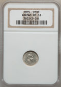 Seated Half Dimes: , 1855 H10C Arrows MS63 NGC. NGC Census: (48/96). PCGS Population(26/74). Mintage: 1,750,000. Numismedia Wsl. Price for prob...