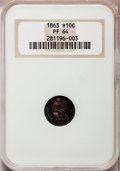 Proof Seated Half Dimes: , 1863 H10C PR64 NGC. NGC Census: (54/40). PCGS Population (69/44).Mintage: 460. Numismedia Wsl. Price for problem free NGC/...