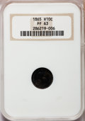 Proof Seated Half Dimes: , 1865 H10C PR63 NGC. NGC Census: (30/79). PCGS Population (46/79).Mintage: 500. Numismedia Wsl. Price for problem free NGC/...