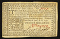 Colonial Notes:Pennsylvania, Pennsylvania April 10, 1777 20s Very Fine.. ...