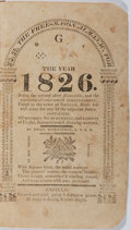 Books:Americana & American History, [Almanac]. The Free-Mason Almanac for the Year 1826. [N.p.], [1826]. Printed wrappers. String bound. Scattered l...