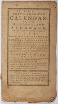 Books:Americana & American History, [Benjamin West]. The North-American Calendar, or, theRhode-Island Almanack for the Year of Our Lord 1784. Solom...