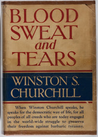 Winston S. Churchill. Blood, Sweat, and Tears. Putnam, 1941. Book club edition. Offsetting and
