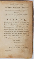 Books:Americana & American History, [Freemasonry]. Ahimon Rezon [?]. [n.d., ca. 1785]. Book onAmerican freemasonry, dedicated to George Washington....