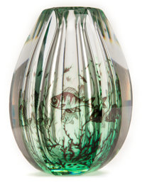 EDVARD HALD ORREFORS GLASS VASE Tall glass hexagonal vase in the Graal fashion with swimming fish motif, circa 19