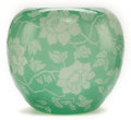Art Glass:Steuben, STEUBEN ETCHED GLASS VASE . Mint green glass etched ina floral vinemotif, circa 1920. 6-7/8 inches high (17.6 cm). ...