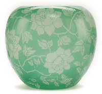 STEUBEN ETCHED GLASS VASE Mint green glass etched ina floral vine motif, circa 1920 6-7/8 inches high (17.6 cm