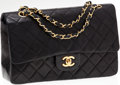 Luxury Accessories:Bags, Chanel Classic 2.55 Black Lambskin Leather Medium Double Flap Bagwith Gold Hardware. ...