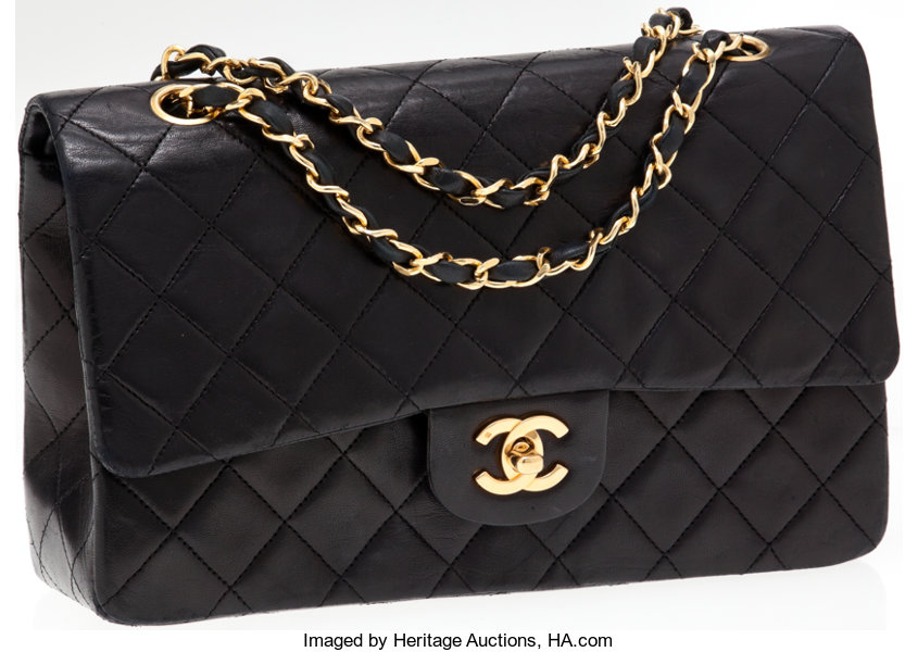 3f92db262c95 ... Luxury Accessories:Bags, Chanel Classic 2.55 Black Lambskin Leather  Medium Double Flap Bagwith Gold ...