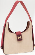 Luxury Accessories:Bags, Hermes Toile and Rouge H Calf Box Leather Tsako Bag with Gold H....
