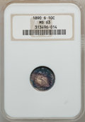 Seated Dimes: , 1890-S 10C MS63 NGC. NGC Census: (13/44). PCGS Population (16/27).Mintage: 1,423,076. Numismedia Wsl. Price for problem fr...