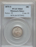 Seated Dimes: , 1875-S 10C Mintmark Below Bow MS64 PCGS. PCGS Population (49/20).NGC Census: (48/45). Mintage: 9,070,000. Numismedia Wsl. ...
