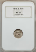 Seated Half Dimes: , 1873-S H10C MS63 NGC. NGC Census: (46/131). PCGS Population(53/112). Mintage: 324,000. Numismedia Wsl. Price for problem f...
