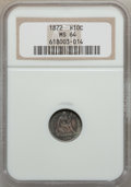 Seated Half Dimes: , 1872 H10C MS64 NGC. NGC Census: (87/36). PCGS Population (56/38).Mintage: 2,947,950. Numismedia Wsl. Price for problem fre...