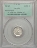 Seated Half Dimes: , 1853 H10C Arrows MS64 PCGS. PCGS Population (154/90). NGC Census:(201/132). Mintage: 13,210,020. Numismedia Wsl. Price for...
