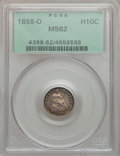 Seated Half Dimes: , 1858-O H10C MS62 PCGS. PCGS Population (18/120). NGC Census:(24/150). Mintage: 1,660,000. Numismedia Wsl. Price for proble...
