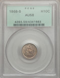 Seated Half Dimes: , 1868-S H10C AU58 PCGS. PCGS Population (15/66). NGC Census:(25/99). Mintage: 280,000. Numismedia Wsl. Price for problem fr...