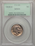 Buffalo Nickels: , 1928-D 5C MS64 PCGS. PCGS Population (1273/375). NGC Census:(877/146). Mintage: 6,436,000. Numismedia Wsl. Price for probl...