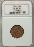 1829 1/2 C MS63 Brown NGC. NGC Census: (34/52). PCGS Population (32/33). Mintage: 487,000. Numismedia Wsl. Price for pro...